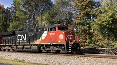 10/22/21 11:23 46 degrees at CN MP 202 Charlotte as CN 3181 and CN 3122 power Train Q 120 over the curve. In full video horn is continuously sounding until a short break before coming into view. One horny engineer on this one!ud83dude1bFull 3:26 v