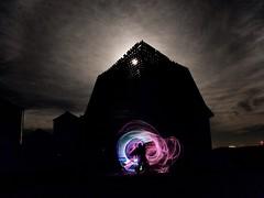 Light painting and moon peeking