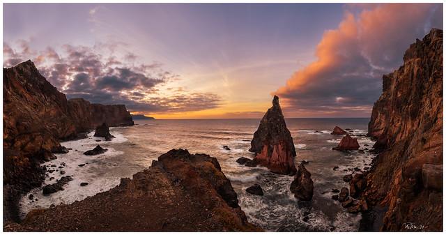 Red cliffs at Ponta São Lourenço
