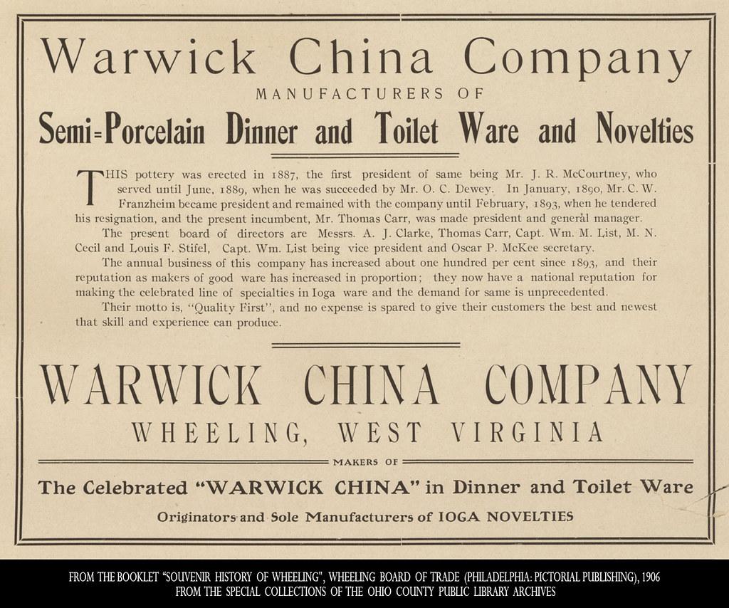 Warwick China Co. Advertisement, 1906