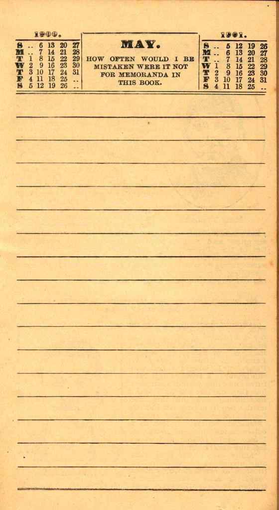 Pierce's Memorandum and Account Book designed for Farmers, Mechanics, and All People, 1900 p. 11