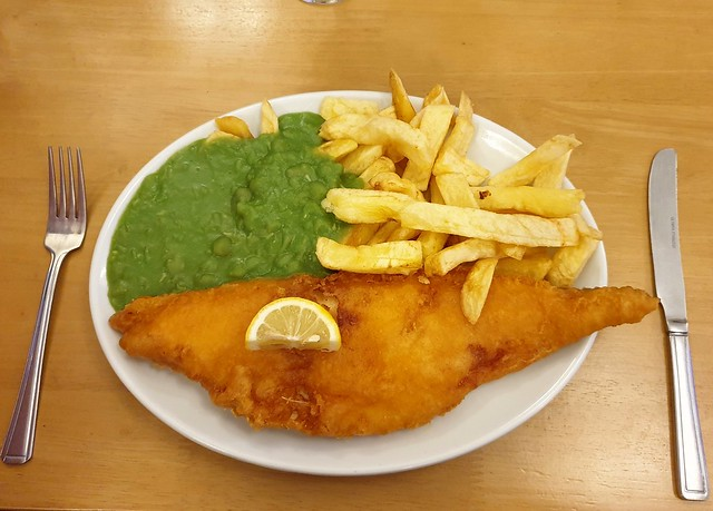 Haddock, chips and mushy peas