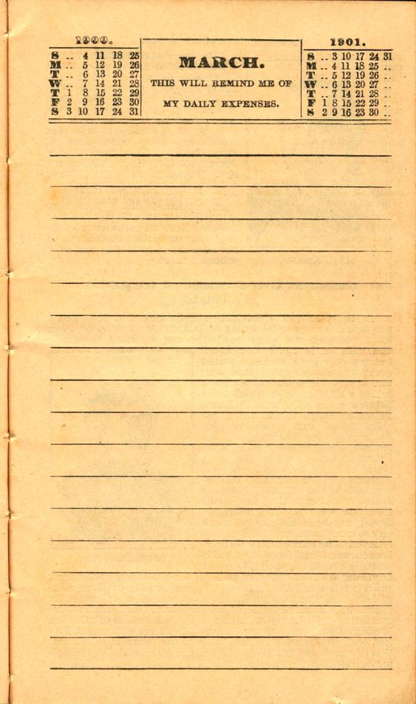 Pierce's Memorandum and Account Book designed for Farmers, Mechanics, and All People, 1900 p. 7