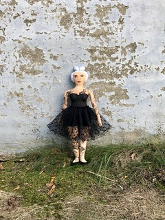 Tattooed lady- white hair, tutu, skeletons