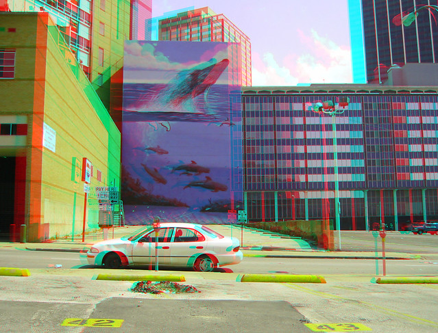 WHALE MURAL DT DALLAS 2003 3D RED CYAN ANAGLYPH