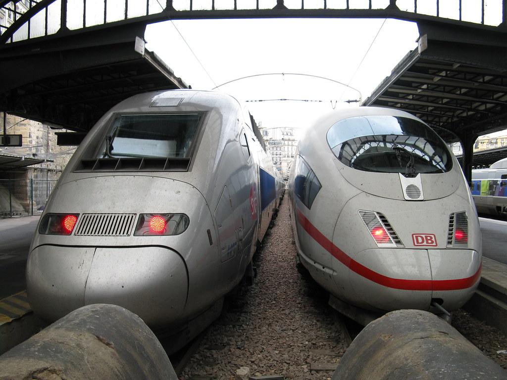 Paris: SNCF RGV POS and DB-Baureihe 406 ICE, Gare d'Est (Paris 10e)