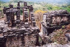 stone ruins of temples at Bonampak along the Usumacinta River in Mexico