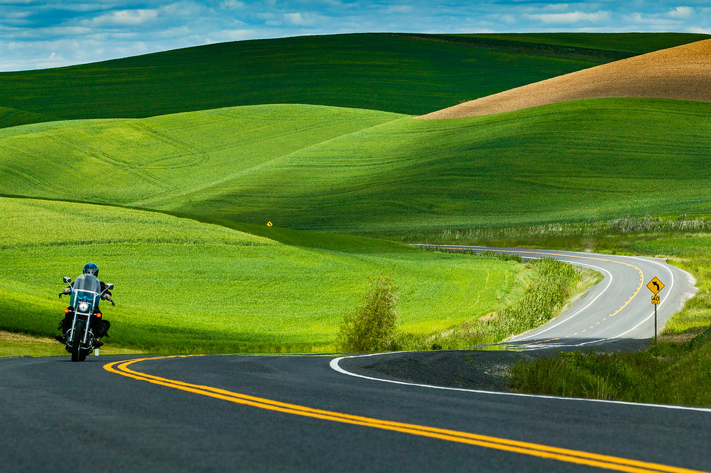 A Lone Motorcyclist on the Twisties of the Palouse