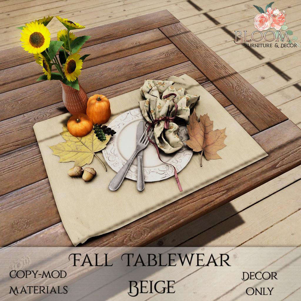 Bloom! – Fall Tablewear BeigeAD