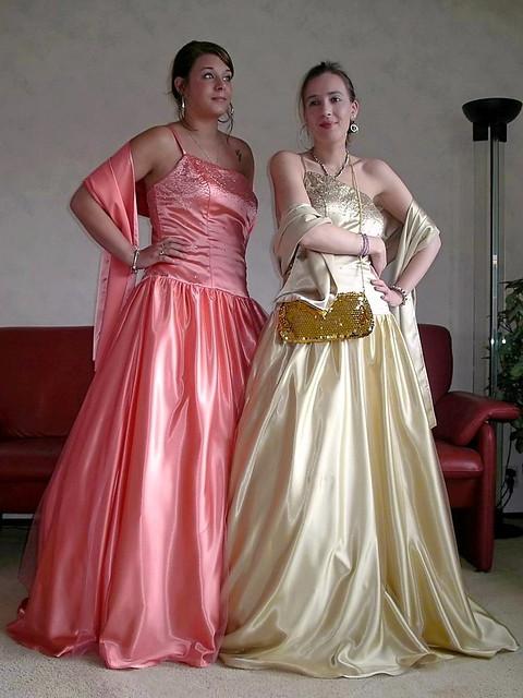 Satin ballgown sisters