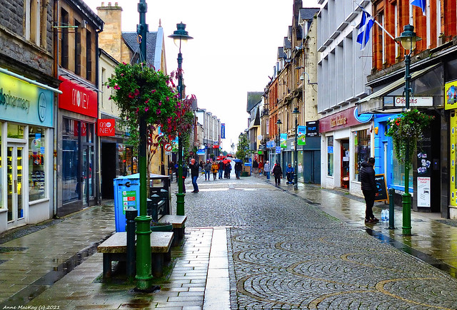 Scotland Central Highlands Main Street Fort William on a wet Saturday afternoon 2 October 2021 by Anne MacKay
