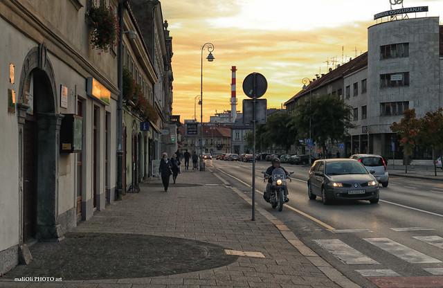 On the street at dusk