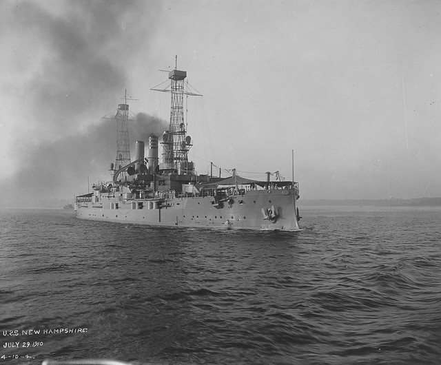 USS New Hampshire (BB-25) on 29th July 1910.