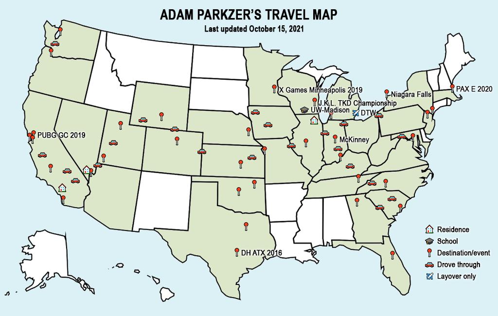 Adam Parkzer's travel map