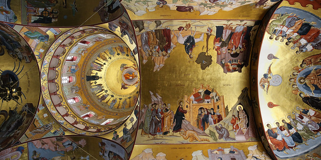 The enriched golden dome and ceiling of the Podgorica Cathedral