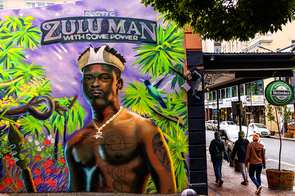 ZULU MAN WITH SOME POWER mural on Long Street on 10-22-21--Cape Town copy