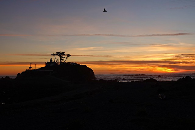 Crescent Harbor Light at sunset
