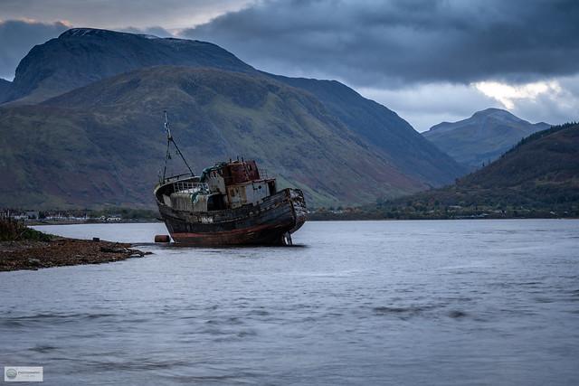 Corpach shipwreck and Ben Nevis, Scotland