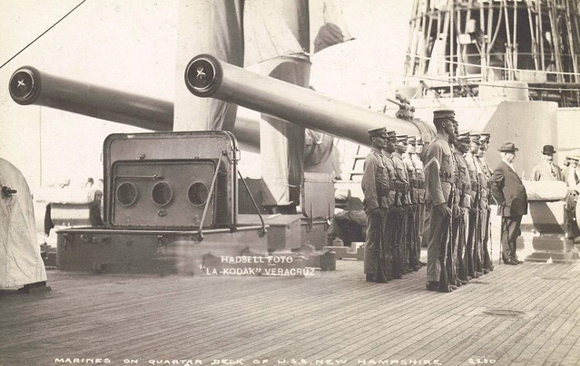 From 14 June 1913 until 29 December, New Hampshire (BB-25) similarly protected American interests along the Mexican coast, to which she returned 15 April 1914 to support the occupation of Veracruz. with Marines on her quarterdeck during the Veracruz occup