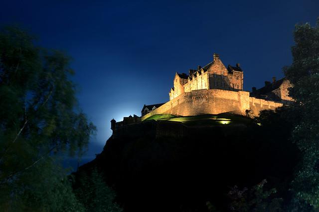 Edinburgh Castle in the moonlight