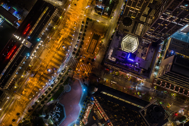 market plaza aerial