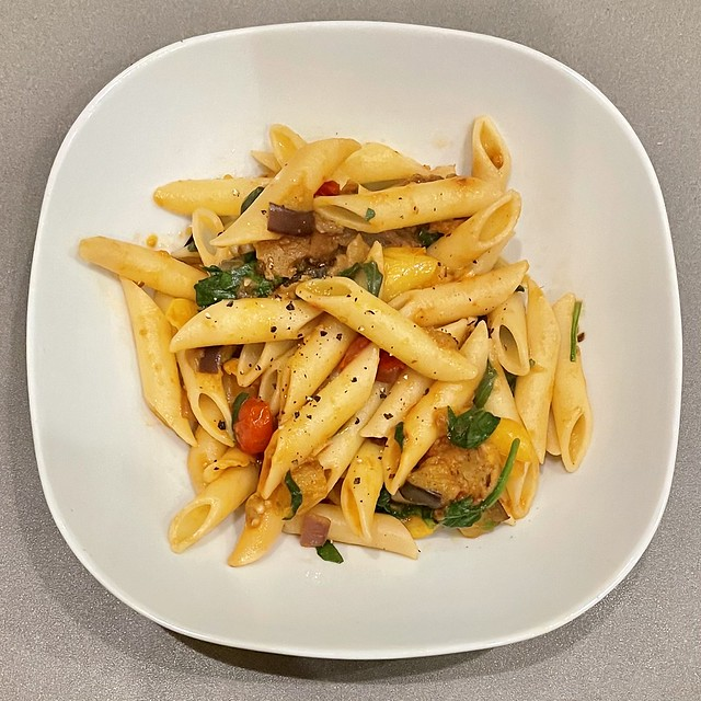 Penne Pasta, spinach, onions, eggplant, Field Roast plant-based garlic , fennel Italian sausages, cherry tomatoes