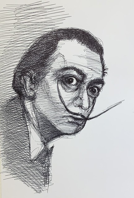 Salvador Dali. Ballpoint pen sketch by jmsw on card. Just for Fun.