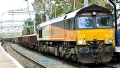 Colas 66848 passing through Reading West Station on route to a possession at Mortimer Station