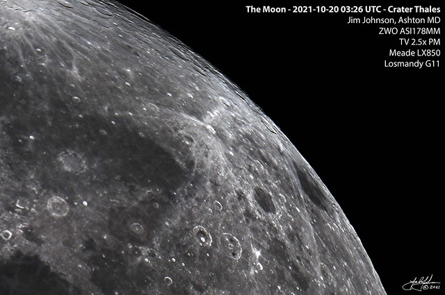 The Moon - 2021-10-20 03:26 UTC - Crater Thales