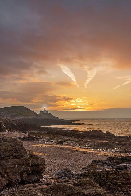 Sunrise over Bracelet Bay
