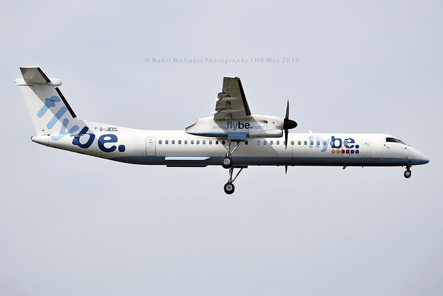 Flybe G-JECL Bombardier DHC-8-402Q Dash 8 cn/4114 wfu & std at EXT 3 Mar 2020 std at NRN 19 Jun 2020 @ EGLL / LHR 15-05-2019