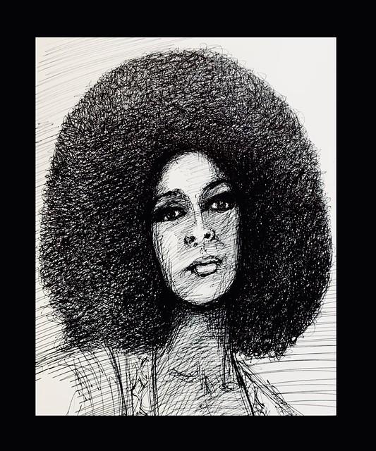 Ballpoint pen drawing by jmsw on card. Marsha Hunt.