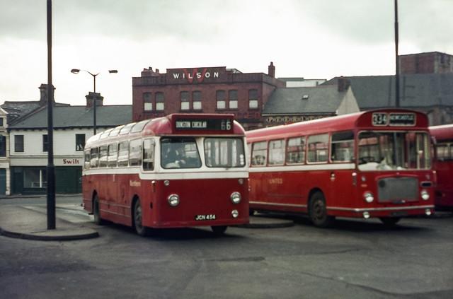 AEC Reliance no. JCN454 @ Newcastle, c.1970 [slide 7013]