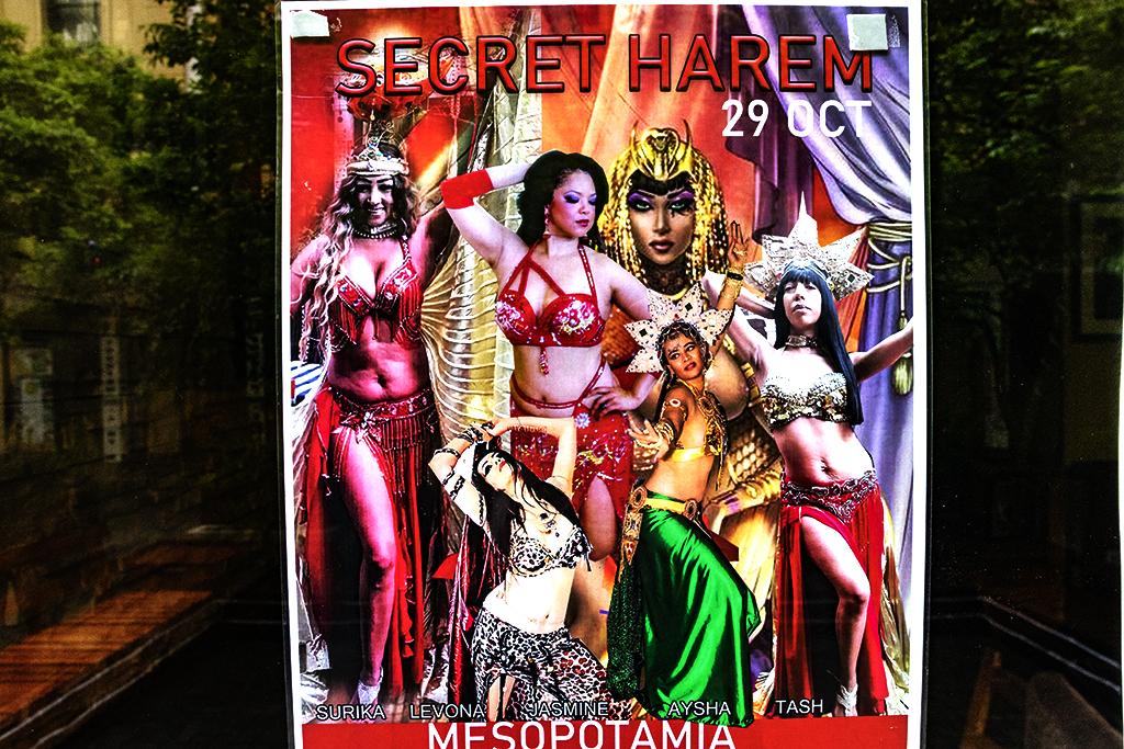 Poster for SECRET HAREM at Mesopotamia Restaurant on 10-24-21--Cape Town copy