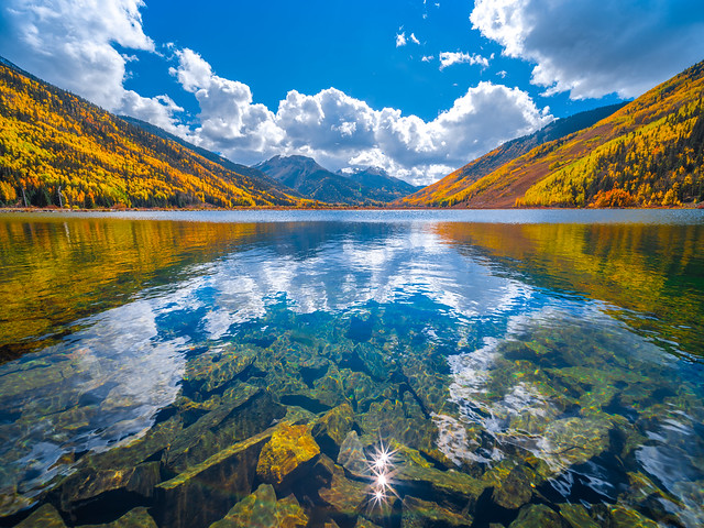 Crystal Lake Reflections Red Mountain Pass Autumn Colors Million Dollar Highway Ouray Colorado Fall Foliage Aspens Fine Art Landscape Nature Photography Fuji GFX100 ! 45EPIC Dr. Elliot McGucken Master Fine Art Luxury Photography CO Fine Art Fuji GFX 100
