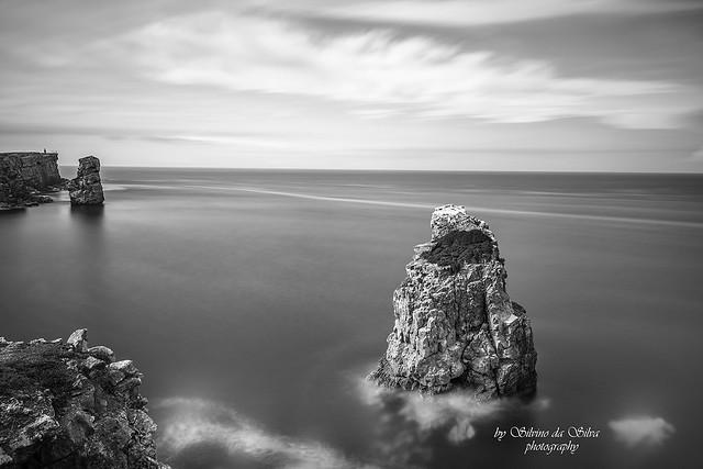 Seascape in Papoa Beach B&W, Peniche. Leiria, Portugal