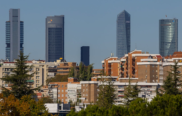 Cuatro+1 Towers, Sunday morning, Madrid, Spain