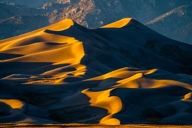 Great Sand Dunes National Park Sunset Shadows Colorado Sony A7R 4 Fine Art Landscape Photography Sangre de Cristo Mountains! Elliot McGucken Master American West Fine Art Luxury Photography CO  & Sony A7RIV & Sony FE 200-600mm f/5.6-6.3 G OSS Lens a7r4