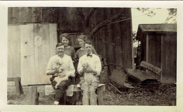 Lillian Klem McCleary and Joe McCleary (at left) and Friends, with Dogs, circa 1916