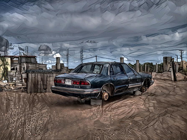 A Buick in the desert. Mulegé, MX
