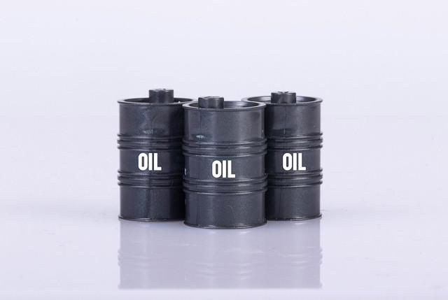 Oil barrels on white background
