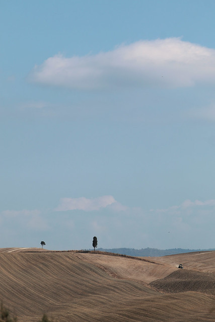 Toscanian landscape with tractor