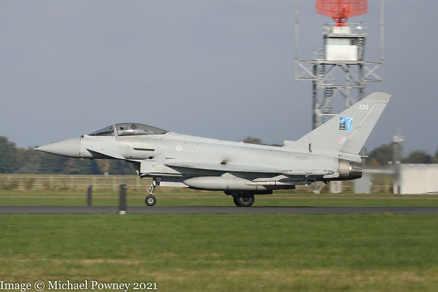 ZK320 - 2011 build Eurofighter Typhoon FGR.4, operating on Runway 25 at Coningsby (note NATO 70 badge on the tail)