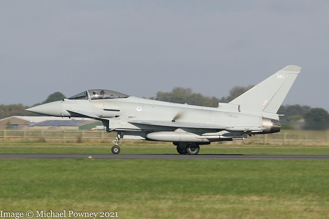 ZK341 - 2012 build Eurofighter Typhoon FGR.4, operating on Runway 25 at Coningsby