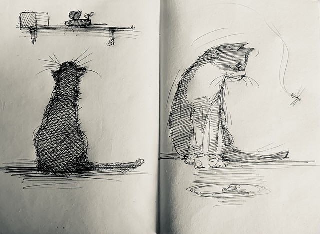 Cat doodles. Ballpoint pen drawings by jmsw on recycled sketch book paper.