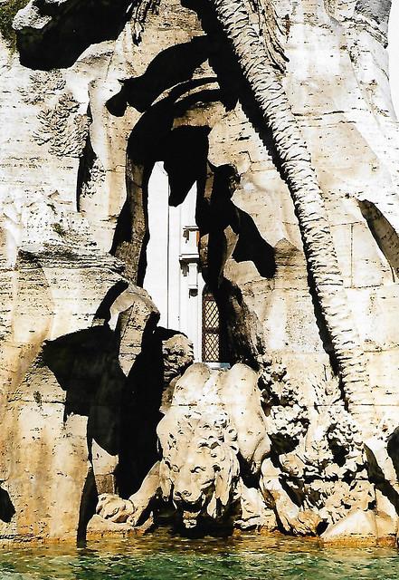 Rome, Piazza Navona, Fontana dei Quattro Fiumi, lion