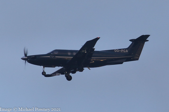 OO-PCA - 2021 build Pilatus PC-12 NGX, on approach to Runway 23R at Manchester