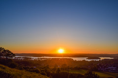 Sunset over chew valley lake