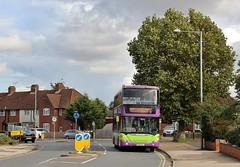 YR61 RVL, Ipswich Buses Scania Omnicity 43, on diversion in Landseer Road, 25th. October 2021.