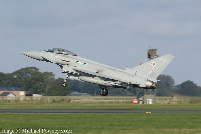 ZK360 - 2014 build Eurofighter Typhoon FGR.4, operating on Runway 25 at Coningsby